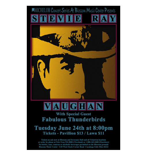 stevie ray vaughan 1986 concert poster raw sugar art studio. Black Bedroom Furniture Sets. Home Design Ideas